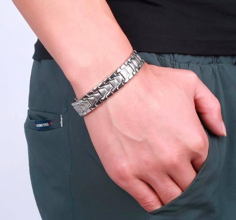 Магнитный браслет серебристый султан